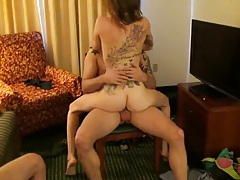 Teen college skank sittin on cock and fucked from the front