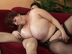Fishnet huge tits mature redhead Sapphire with anal sex
