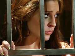 Prison sluts Gracie Glam and Cassandra Cruz with sex through bars