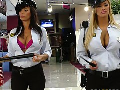 Big tits mall cops Shyla Stylez and Lezley working their shift