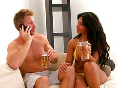 Big tits milf Rose in a bikini having a drink spreading legs