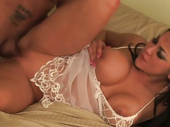 Shaved pussy lingerie sex with Audrey Bitoni on cock