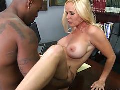 Black cock stuffing blonde milf