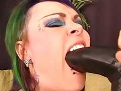 Sucking a giant fucking brutabl dildo with naughty girl