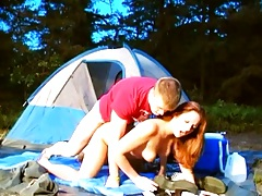 Amateur college student Amber fucked during camping trip