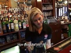 Pick up Rihanna Samuel an euro waitress at the bar