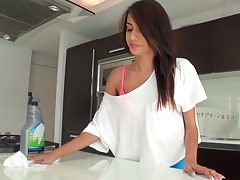 Janice Griffith sexy athletic teen washing the kitchen and sucking kitchen utensil
