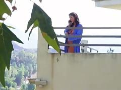Voyeur outdoor Evi Fox in her bathroom naked on balcony