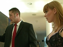 Brunette Marie McCray sucking man in suits cock