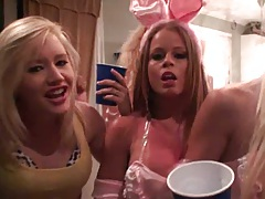 Horny college girls having a play boy bunny party