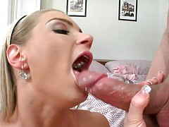 Small tits dirty blonde slut Megie sucks dick