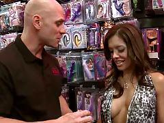 Hot milf with big boobs at the adult store