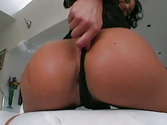 Big round ass Belladonna pulling panties aside solo