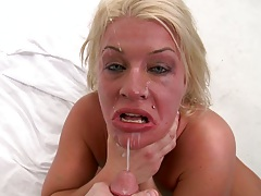 Disgraced pornstar Sadie with a face full of cumshot