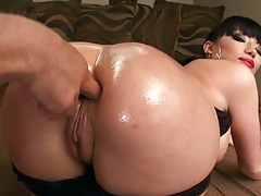 Oiled up and lubed up ass Maya Hills getting ass fingered and anal fucked