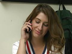 Cute 18 year old Karina in her uniform