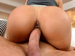 Francesca Le sitting on cock with some oil and ass spreading