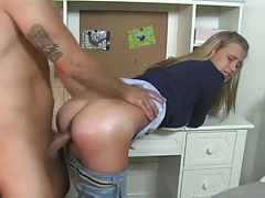 Hot school girl slut in jean Alanna fucked doggy style
