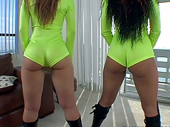 Nice round ass in tight hotpants jiggling Chayanne Jacobs and Scarlett