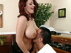 Sophie Dee shaking big nice tits and sucking dick