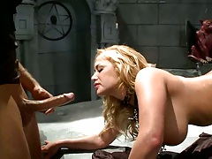 Shyla Stylez sucks cock like a dog