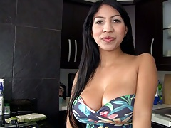 Camila latina sucks some dildo and gets milk all over big round boobs