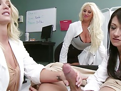 Blonde doctor group femdom patient fuck with uniformed girls Brooklyn Blue