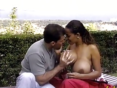 Huge tits Angelique outdoor blowjob