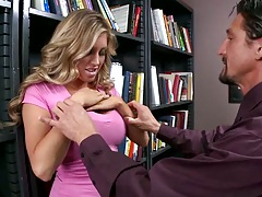 Undressing sexy Samantha Saint in the school library