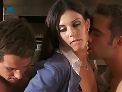 Brunette India Summer making out with two horny guys
