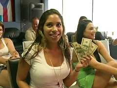 Big tits babe holds cash for sex deal