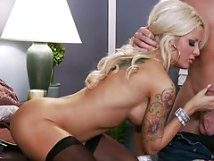 Big tits blonde pornstar Helly Mae Hellfire sucking cock