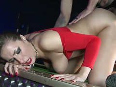 Big tits Paige Turnah and her big ass fucked doggy style on pool table