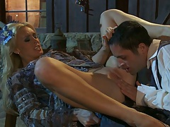 Eating out half dressed blonde babe Tanya Tate by the shed