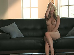 Great athletic glamcore chick Kayden Kross spreading and fingering self