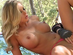 Checking out cops Samantha Saint pussy on a vehicle