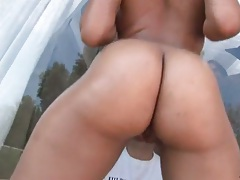 Big ass ebony chick Alix Amillion shows butt and group blowjob