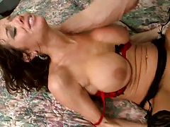 Big tits milf in a red bra fucked on the bed