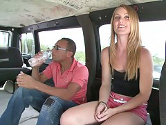 Sexy cute babe picked up for bang bus fun