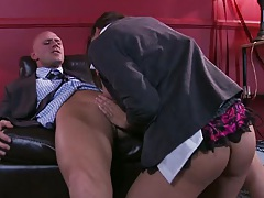 Blowjob on the office chair