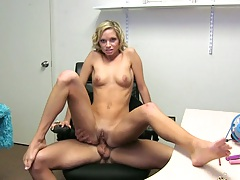 Ashley Sinclair reverse cowgirl sitting on penis behind table