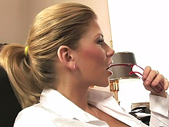 Fully clothed Brooklyn Lee in office sucking dudes dick on desk