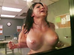 Casey Cumz fucked up a wall and a window with deep throat in good cop bad cop