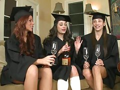 Hot grad girls having drinks in a group