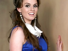 Brunette sassy Tori Black strips on the stairs