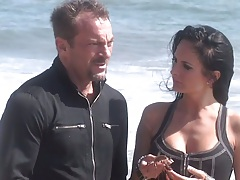 Outdoors on the beach with big its Alektra Blue then some making out