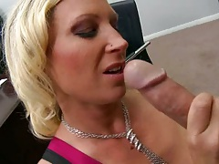 Mom Devon Lee in the office sucking dick and naked