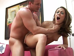 Hardcore choking standing fuck for Kristina Rose from behind