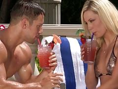 Blonde Kiara Diane outdoors in a cute bikini gets touched