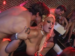 Group orgy with busty sluts in face masks